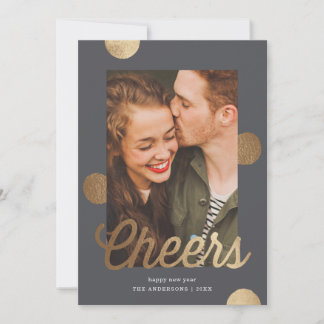 Big Cheers New Year Faux Gold Foil | Holiday Photo