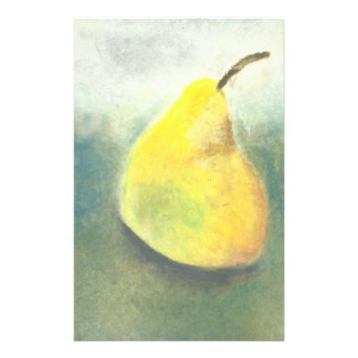 Stort gult Pearstilleben i olje- pastell Brevpapper