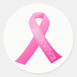 Stort Klistermärke-Överleva det rosa bandet Runt Klistermärke