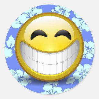 Stort leende runt klistermärke