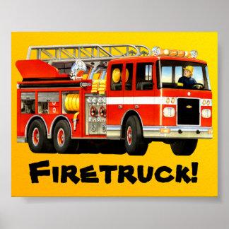 Stort rött avfyrar lastbilen affisch