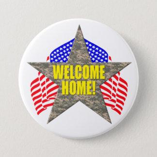 Stötta våra soldater, välkomnande somhemmet mellanstor knapp rund 7.6 cm