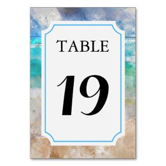 Strand eller ö som gifta sig bordsnummerkortet bordsnummer