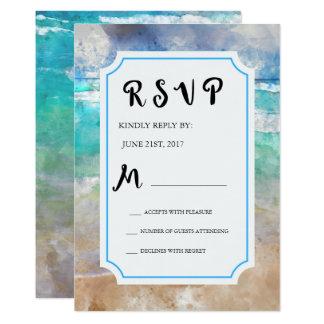 Strand eller tropiskt övattenfärgbröllop OSA 12,7 X 17,8 Cm Inbjudningskort