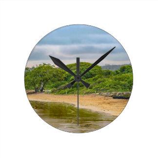 Strand för El Garrapatero, Galapagos, Ecuador Rund Klocka