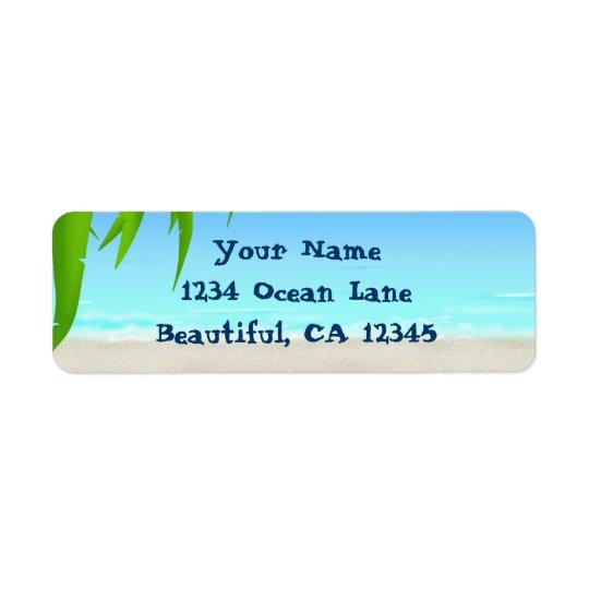 Strand-, hav- och palmträdormbunksblad returadress etikett