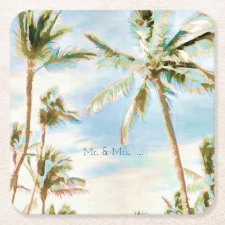 Strand/korall/blått för PixDezines vintage Underlägg Papper Kvadrat