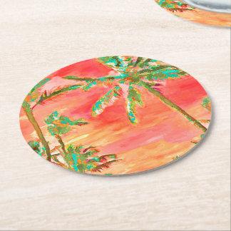 Strand/korall/kricka för PixDezines vintage Underlägg Papper Rund