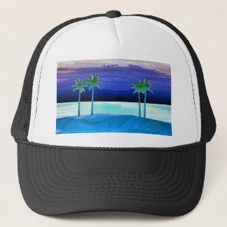 Strand och palmträd truckerkeps