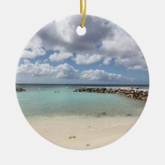 Strand på De Gömma i handflatan Ö - Aruba Julgransprydnad Keramik