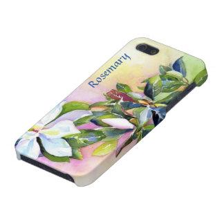 Stranda av vitblommor med blått och grönt iPhone 5 skal