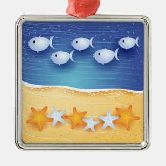 Strandbakgrund, prydnad julgransprydnad metall