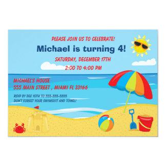 Strandbarns födelsedaginbjudan 12,7 x 17,8 cm inbjudningskort