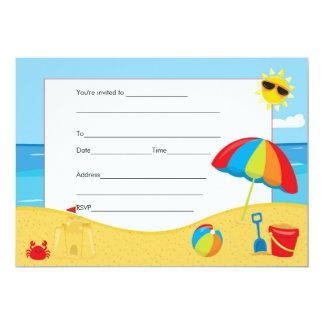 Strandbarns födelsedaginbjudan fyller in 12,7 x 17,8 cm inbjudningskort