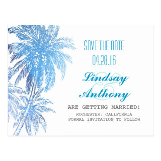 strandbröllop spara datum - blåtthandflatan vykort