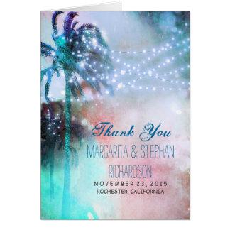 strandbröllop tackar dig att card med ljus & handf OBS kort