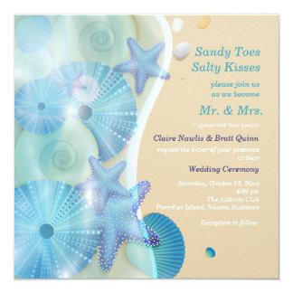 Strandbröllopinbjudan Fyrkantigt 13,3 Cm Inbjudningskort