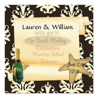 Strandbröllopinbjudan med damast fyrkantigt 13,3 cm inbjudningskort