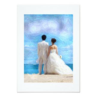 Stranden kopplar ihop bröllopinbjudan 12,7 x 17,8 cm inbjudningskort