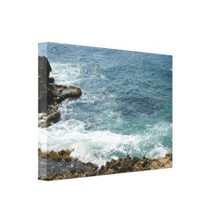 Stranden möter hav canvastryck