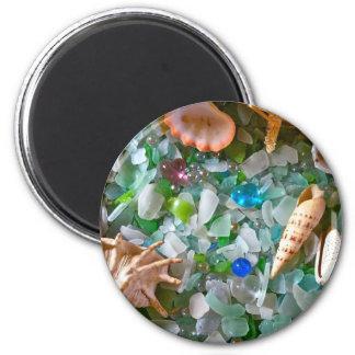 Strandexponeringsglas med snäckor magnet