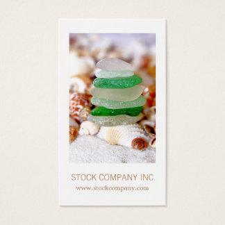 Strandexponeringsglas & snäckskal visitkort
