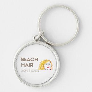Strandhår, att bry sig inte Keychain Rund Silverfärgad Nyckelring