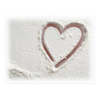 Strandhjärta av sanden vykort