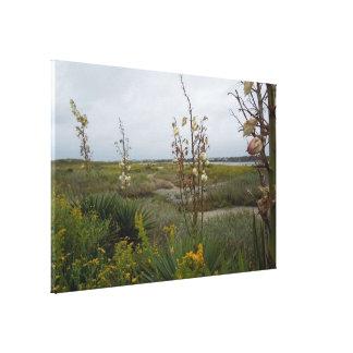 Strandmoln och vildblommar - Oakö, NC Canvastryck