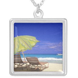 Strandparaply, Abaco, Bahamas Silverpläterat Halsband