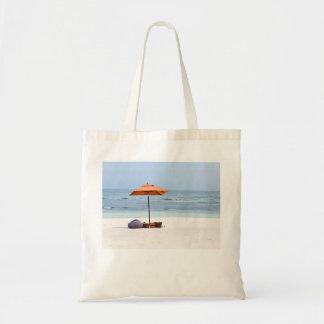 Strandparaply och hav budget tygkasse