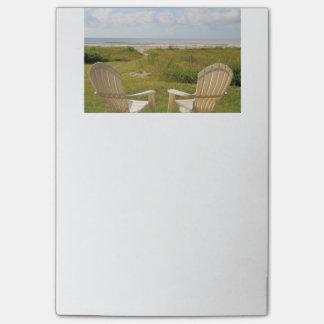 Strandstolar på den Galveston ön Post-it Lappar