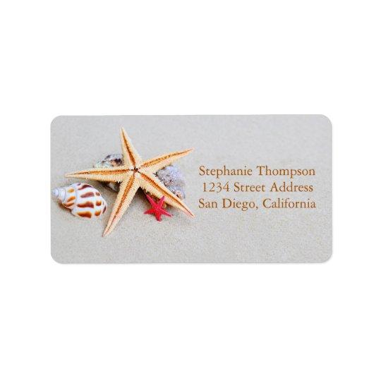 Strandtemasjöstjärna och snäckskaladressetikett adressetikett