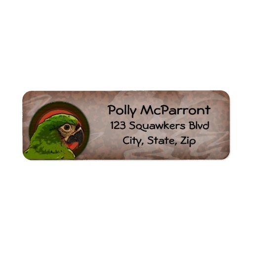 Sträng Macaw Returadress Etikett