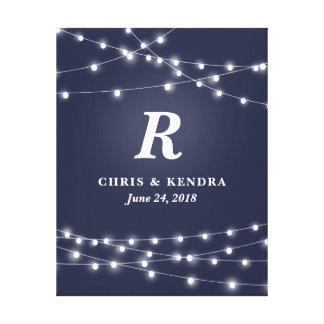 Stränga av bröllopsdag för ljusMonogrampersonlig Canvastryck