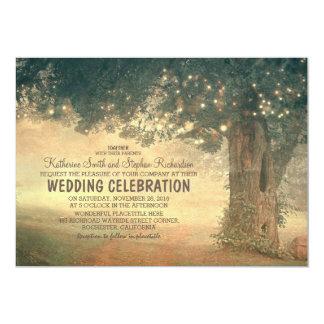 stränga av för trädbröllop för ljus lantlig 12,7 x 17,8 cm inbjudningskort