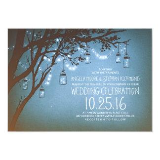 stränga av vintage bröllop för ljusmasonburkar 12,7 x 17,8 cm inbjudningskort