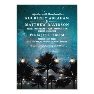 Stränger den tropiska palmträdet för stranden att 12,7 x 17,8 cm inbjudningskort