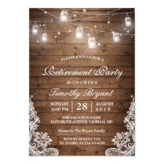 Stränger lantligt trä för pensionparty | ljussnöre 12,7 x 17,8 cm inbjudningskort