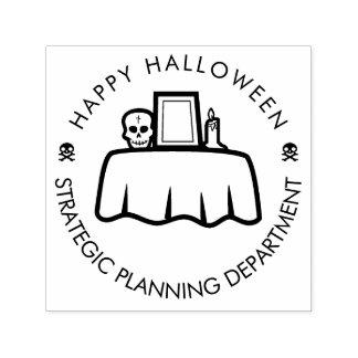 Strategiskt planera för happy halloween som är självfärgande stämpel