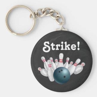 Strejka! Blåttbowlingklot med stiftnyckelringen Rund Nyckelring