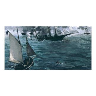 Strid av USS Kearsarge och CSS Alabama vid Manet Fotokort