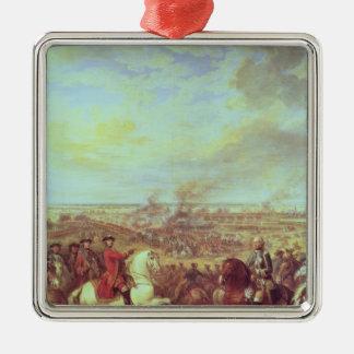 Striden av Fontenoy, 11th maj 1745 Silverfärgad Fyrkantigt Julgransprydnad