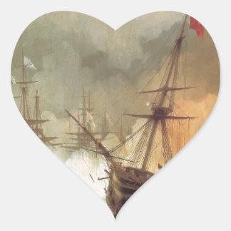 Striden av Navarino av Ivan Aivazovsky Hjärtformat Klistermärke