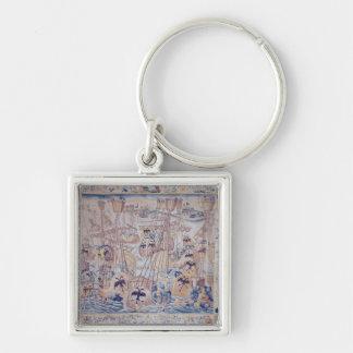 Striden av Tunis eller Lepanto Fyrkantig Silverfärgad Nyckelring