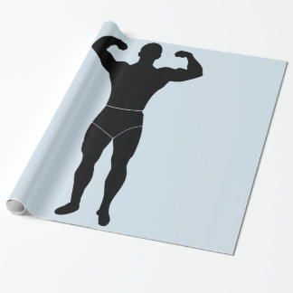Strongman som slår in papper presentpapper