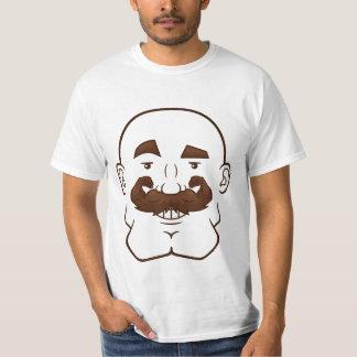 Strongstache (skalligt, brunt hår) t-shirts