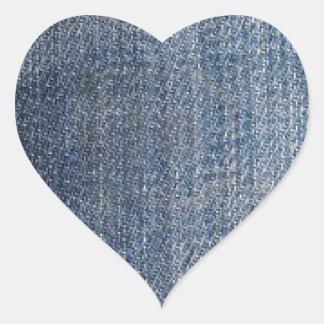 struktur för tyg för blåttdenimjeans hjärtformat klistermärke
