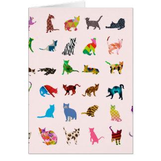 Struktur med färgrika katter hälsningskort
