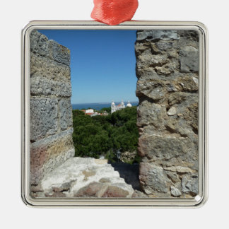 Sts George kort för slotthälsning (Lisbon, Julgransprydnad Metall